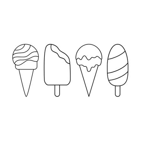 Simple set of ice cream icons. Black and white line icons.