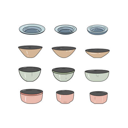 Simple set of dish icons. Vector illustration. Plate icon set.