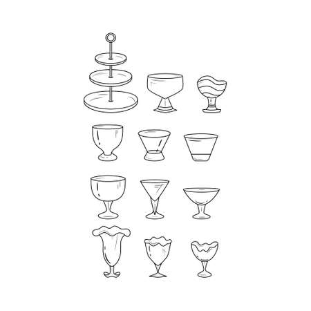 Simple set of glass dish icons. Black and white icon set.