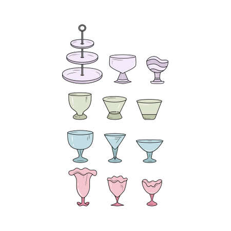 Simple set of glass dish icons. Vector illustration.