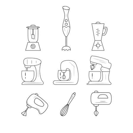 Set of kitchen accessories - whisk, mixer, blender. Black and white icons. Vector illustration.