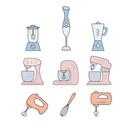Icon set of kitchen accessories - whisk, mixer, blender. Vector illustration. Ilustração