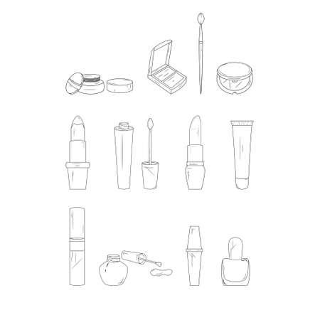 Make-up line icons. Simple set of cosmetics. Vector illustration on white background. Ilustração
