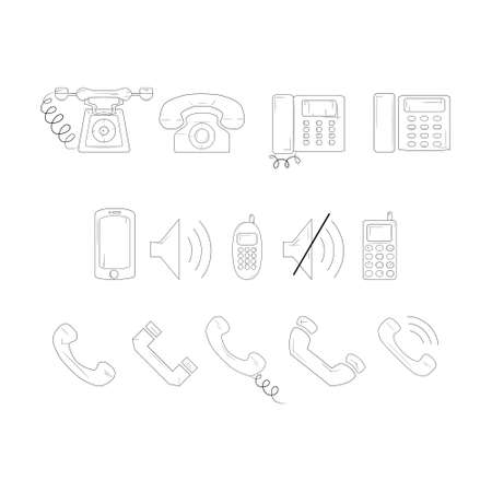Set of phone and mobile phone icons. Simple line icons illustration. Ilustração