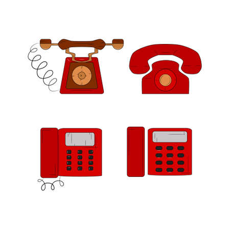 Set of telephone. Red phone on white background. Vector illustration