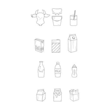 Milk products. Black and white line icon set. Ilustração