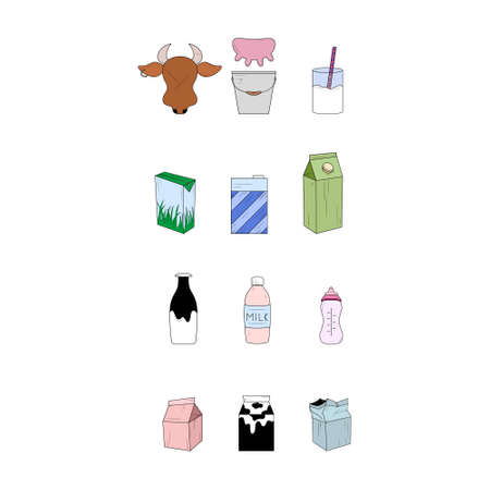Set of milk products. Simple icons. Vector illustration. Ilustração
