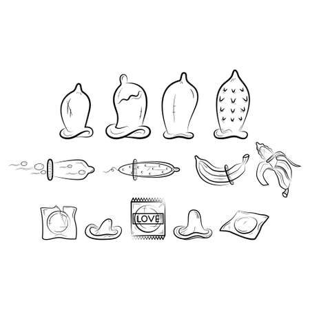 Contraceptive icons set. Black and white condom. Line art on white background. Banana with condom. Safe sex.