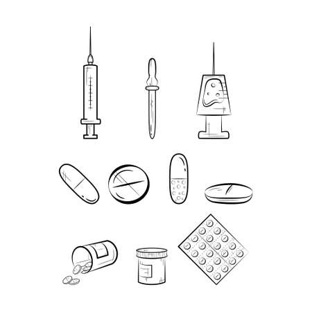 Set of medical icons, thin line style. Pill icons on white background.