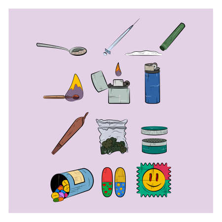 Set of narcotics. Different narcotic drug dependence. Colorful icons. Ilustrace