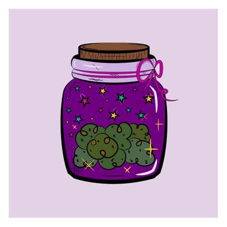 Vintage graphic icon. Green cannabis marijuana hemp medical weed in jar. Graphic design.