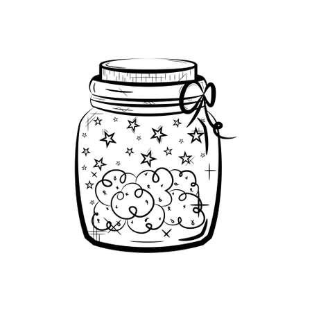 Cannabis marijuana hemp medical weed in jar. Black and white icon.