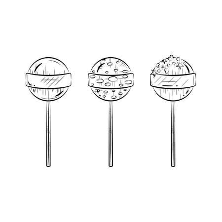 Black and white lollipop set. Candy icon. Simple line art. Vector illustration.