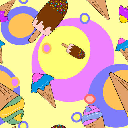 Ice cream Seamless Pattern. Colorful background. Vector illustration.