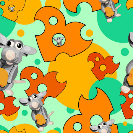 Seamless cheese Pattern. Cheese hearts with mouse. Vector illustration. Ilustração