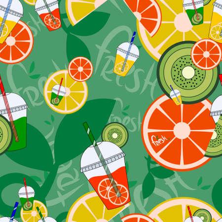 lemonade Seamless Pattern. Fresh fruits. Vector illustration.