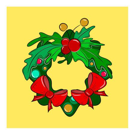 New Year Wreath icon.  Wreath logo on yellow background. Vector illustration.