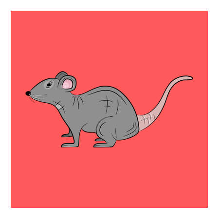 Rat icon. Cute rat logo on red background. Vector illustration.