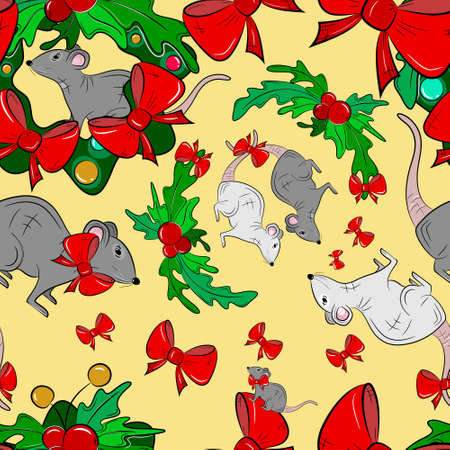 New Year Seamless Pattern with rats and wreaths. Vector illustration.