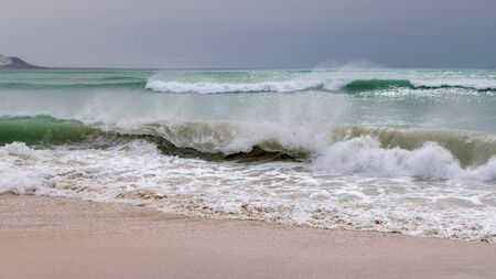 Waves breaking on sand beach, Sal Rei, Boa Vista, Cape Verde