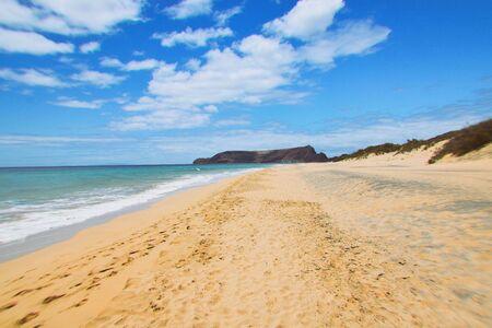 Beach at Porto Santo Island, Madeira Stock Photo