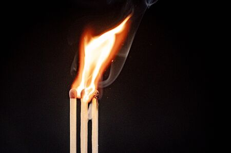 Burning flame from matchstick ignition