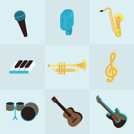 xilofono: Conjunto isométrico perfecta de instrumento musical volumen. Utilizarlo para la infografía, web, un cartel o en que lo hará. Aquí está el piano, la guitarra, micrófono, y otra nota