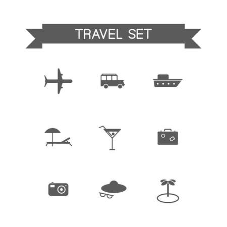 choise: This is a travel set flat design monochrome  icons. Here you can find plane, car, ship, coctail,suitcase, camera,hat,palm and sunbed. Perfect choise for infographic, web and at your will.