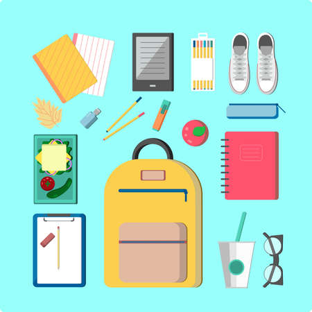 tumbler: This is perfect flat design illustration of school topic.All you need for back to school bagpack, lunch-box, notebooks, pens, pencil, apple, reader, tumbler, vogue glasses. Outfits for school, ready for web, infographic or at you will. Illustration