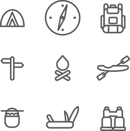 This is set of fat  linear design icons of camping topic.There are 9 icons including tent, compass, backpack, pointers, fire, kayak, boiler, folding knife with the opener and corkscrew, binoculars.