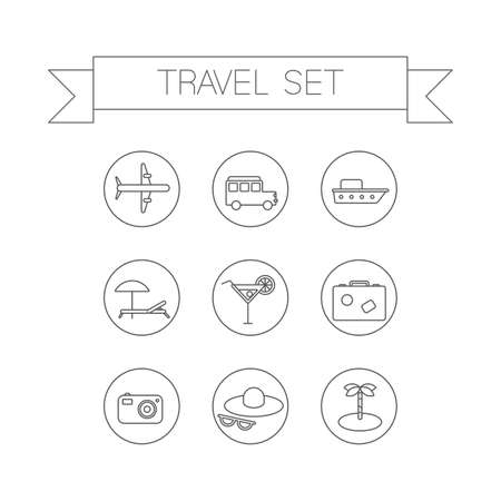 choise: This is a travel  linear flat design icons. Here you can find plane, car, ship, coctail,suitcase, camera,hat,palm and sunbed. Perfect choise for infographic, web and at your will.