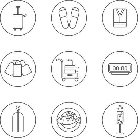 tipple: This is a travel set flat design icons. Here you can find hotel and restorant icons. Perfect choise for infographic, web and at your will. Illustration