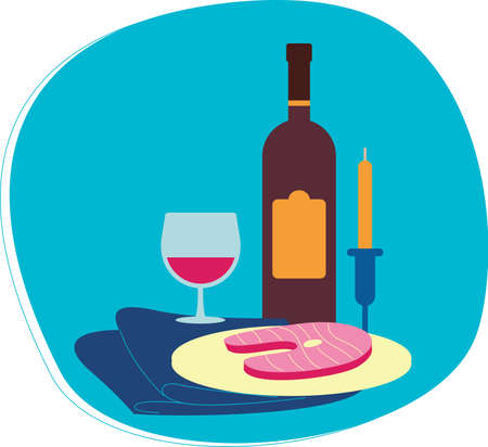Perfect flat design illustration of wine topic. Tasty food for your needs, web, bannrs, infographic, pack and other Illustration