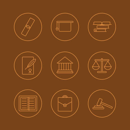 Set of perfect flat linear icons with background of court topic.Useful for inphograpics, presentation and web site.