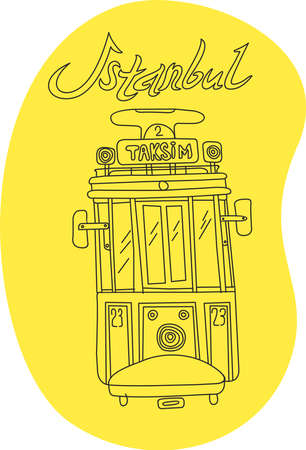 byzantine: This is perfect linear handdraw style illustration of Istanbul topic. The most famous landmark like taksim square tram. Perfect for web, banners, advertising and at you will. Illustration