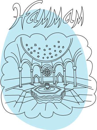 Ceci est parfait illustration de style de dessin à main linéaire du sujet hammaml. Le plus célèbre spa de dinde. Parfait pour le web, des bannières, la publicité et à vous voulez.