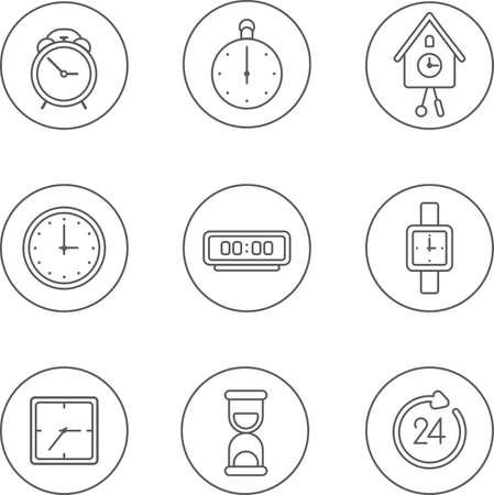 reloj cucu: Este es un conjunto de iconos modernos delgada lineales tema de reloj incluido el servicio, contador de tiempo, reloj de cuco, el pelo, la vuelta al reloj, alarma, reloj de arena. iconos útiles para la infografía, la presentación y el sitio web.