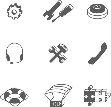 provide information: This is set of monochrome isometric design icons of technical support topic. Usefully for infographic, presentation, web and print. Illustration
