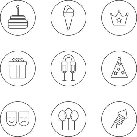 champagne party: set of flat linear design monochrome icons of birthday topic. There are 9 icons including cake, ice-cream, crown, gift box,glass with champagne,party hat, mask,balloon,firework