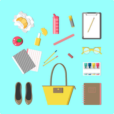 vogue: This is perfect flat design illustration of school topic.All you need for back to school bag,flats, nail polish, lunch, notebooks, pens, pencil, apple,cruissant, tumbler, vogue bottle. Outfits for school, ready for web, infographic or at you will.