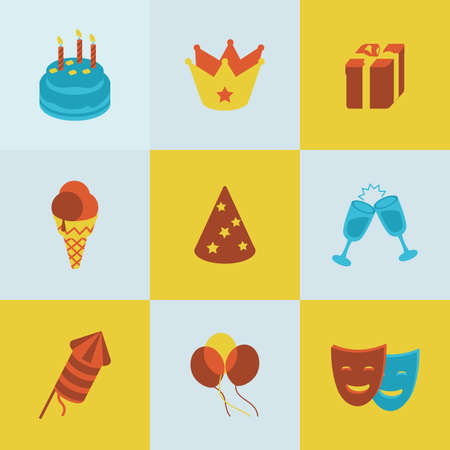 champagne party: This is set of isometric colorblock design icons of birthday.There are nine icons including cake, ice-cream, crown, gift box,glass with champagne,party hat, mask,balloon,firework Illustration