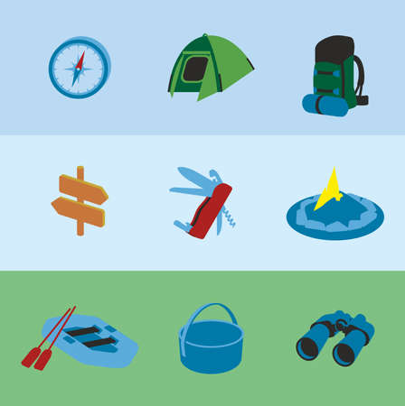 moonrise: This is set of volume colorful design icons of camping topic.9 icons including tent, compass, backpack, pointers, fire, kayak, boiler, folding knife with the opener and corkscrew, binoculars.