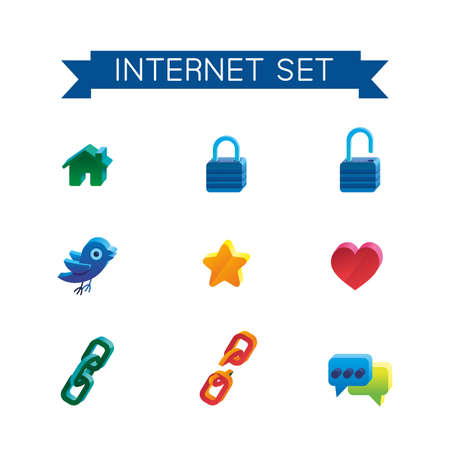 This is set of volume isometric icons of internet topic. All you need for your work is here. Include hyperlink, likes, bird, home, lock