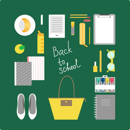 vogue: This is perfect flat design illustration of school topic.All you need for back to school bagpack, lunch-box, notebooks, pens, pencil, apple, reader, tumbler, vogue glasses. Outfits for school, ready for web, infographic or at you will. Illustration