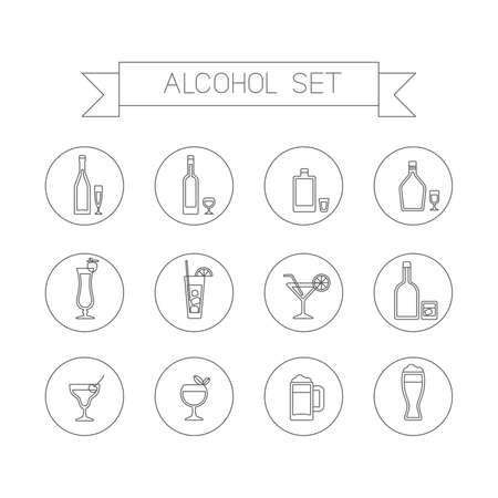 This is flat liner design icons of alcohol topic. It include wine bottle, flask, champagne, cocktail, aperitif, glasses, short, beer. Useful for bar menu, web, print and at you will Illustration