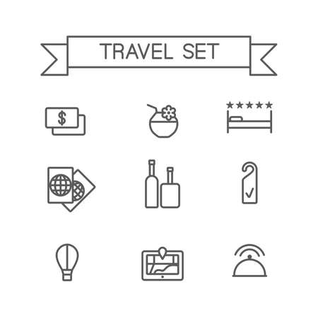 choise: This is a travel set flat design icons.  Here you can find resort, hotel, restorant icons.Perfect choise for infographic, web and at your will.