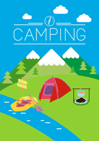 This is set of flat design illustration of camping topic.Moonrisekingdom style.There are tent, fire, kayak, boiler. Use it for web, print, card, advertising or at you will Illustration