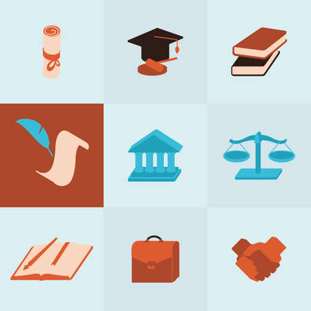 Set of perfect colorful volume icons of court topic.Useful for inphograpics, presentation and web site.