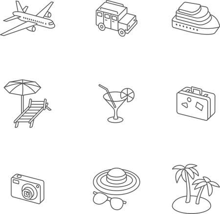 choise: Travel setset volume design icons, monochrome and linear. Here you can find plane, car, ship, coctail, suitcase, camera, hat, palm and sunbed. Perfect choise for infographic, web and at your will.