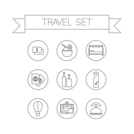 choise: This is a travel set flat design icons. Here you can find plane, car, ship, coctail,suitcase, camera,hat,palm and sunbed. Perfect choise for infographic, web and at your will.